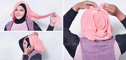 cara-memakai-hijab-muka-bulat