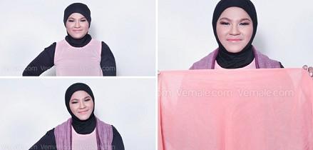 cara-memakai-hijab-untuk-muka-bulat
