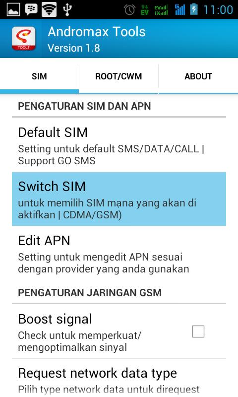Cara mengaktifkan koneksi internet GSM di hp Smartfren Andromax
