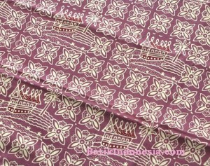 Kain Batik Cap Padang Motif Rumah Adat Ungu